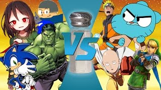 CHARA VS GUMBALL VS HULK VS SAITAMA VS SONIC VS NARUTO!!! Cartoon Fight Club or Salt Assault?