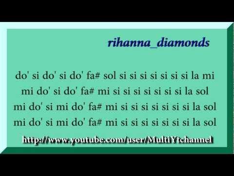 Rihanna diamonds full Flauta dulce notas Partitura Recorder Score