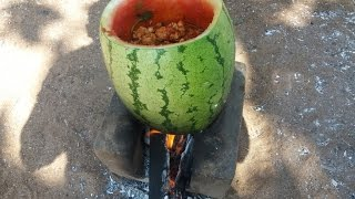 Cooking Watermelon Chicken in My Village - Spicy Sweet Taste