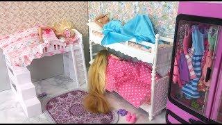 Barbie & Her Friends Morning routine Bunk Bed Bedroom باربي الصباح الروتينBarbie Rotina matinal