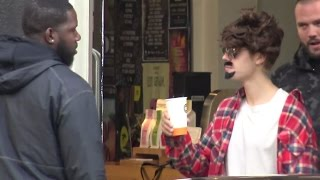 justin bieber in disguise  wig glasses  moustache  in amsterdam netherlands  october 7 2016