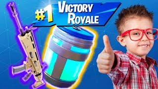 KID GIVES ME SCAR & CHUG JUG TO HELP HIM WIN ON FORTNITE!! (HE USES CONTROLLER ON PC!)