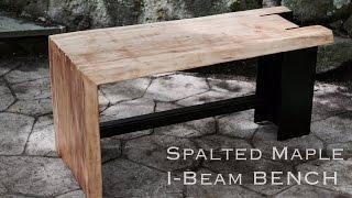 Spalted Maple Live Edge Slab &  I-Beam Bench