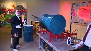 Crush a 55 gallon drum with air pressure
