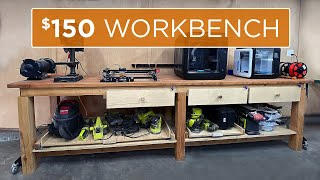 How to Build a 10ft Professional Workbench with Storage for under $120 | 34