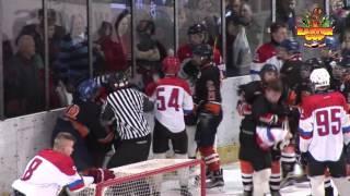 ice-hockey EasterCup2017  [most] Košice vs HC Brest Big fight, attack to referee