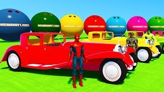 LEARN COLORS OldTimer Cars for Babies w/ Superheroes 3D Spiderman Animation for Kids