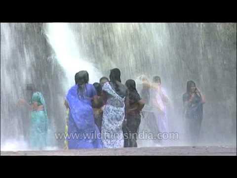 Xxx Mp4 Ladies In Sarees Get Wet Under Waterfalls In Kerala Thirparappu 3gp Sex