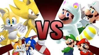 MARIO and LUIGI vs SONIC and TAILS REMATCH!!! Cartoon Fight Club Episode 5