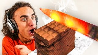 EXPERIMENT! GLOWING 1000 DEGREES HOT KNIFE VS CHOCOLATE! (Reacting To)