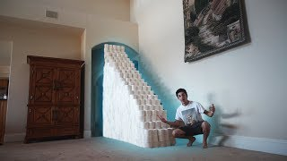 BUILDING A TOILET PAPER STAIRCASE!! (ATTEMPTING TO CLIMB UP)