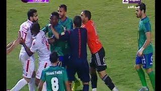 لقطة غير رياضية لــ باسم مرسي وخناقة بينه وبين حارس مرمى مصر المقاصة ويحصل على كارت احمر