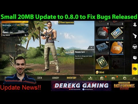 Small UPDATE to PUBG Mobile 0.8.0 Fixes Rename Bug / 3X & 6X Sensitivity / More!! | DerekG