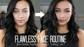 FLAWLESS FACE ROUTINE: Foundation, Highlight, Contour + Baking, etc | Stephanie Ledda