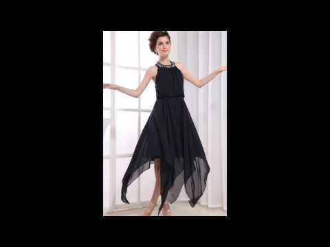 Angelia Bridal Women's Halter Backless Bead Irregular Chiffon Cocktail Party Dress