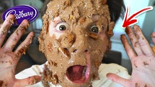 CRAZY 100 LAYERS OF CHOCOLATE ON FACE CHALLENGE!!