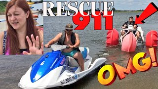 LIFEGUARD RESCUES FAT DAD STRANDED ON AN AQUA TRIKE! FAMILY SO EMBARRASSED!
