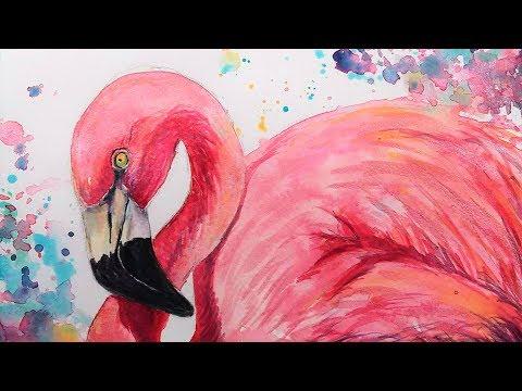 LIVE Wild & Colorful Flamingo in Watercolor 12 30pm ET