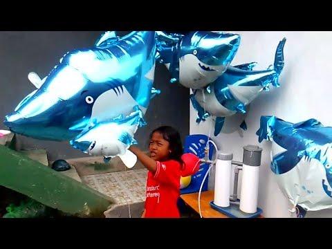 QYLA MELEPAS BALON KARAKTER SHARK - BABY SHARK DANCE SONG KARAOKE