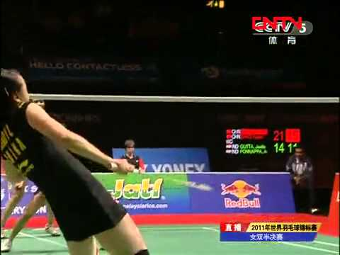 [2011 World Championships BXD-F] Tian Qing/Zhao Yun Lei vs Jwala Gutta/Ashwini Ponnappa [7]