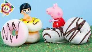 PEPPA PIG Y PINYPON: el reto Squishies vs Realidad ! Ganarán los bebés Pin y Pon ? Squishy Real Food