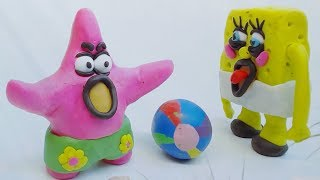 Patrick Star Funny Ball Accident with Baby SpongeBob Play Doh Stop Motion Kids Movie