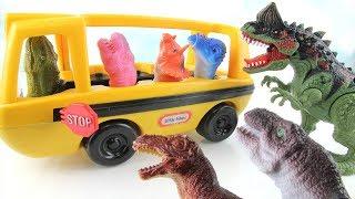 Dinosaur Attack Dino School Bus! Learn Names of Dinosaurs For Kids. Dinosaurs finger Fun Toys 공룡 장난감