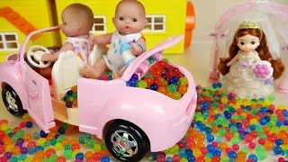 Baby Doll car toy and Orbeez Surprise eggs play