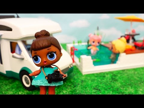 L.O.L. Surprise Baby Dolls Go Camping in Playmobil Camper - Stories With Dolls and Toys