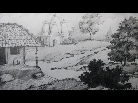 How to Draw a Village Scenery with Pencil | Step by Step | Epi-2