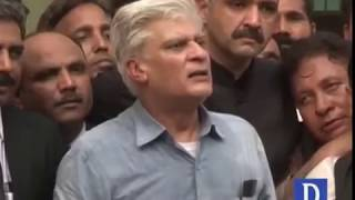 Asif Kirmani media talks outside ECP