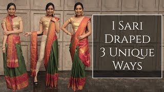 1 Sari Draped 3 Unique Ways