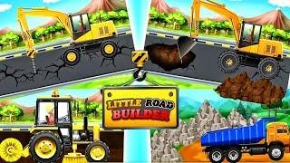 Learning Construction Vehicles For Kids | Bulldozers Dump Trucks Excavators - Little Road Builder
