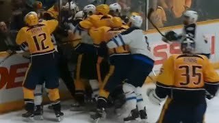 Penalty Boxes Fill After Scheifele Puts Puck into Net After Whistle - Jets vs Predators Scrum