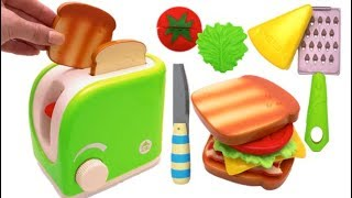 Magic Toy Toaster Pretend Play Learn Colors Cutting Fruit & Vegetables for Kids