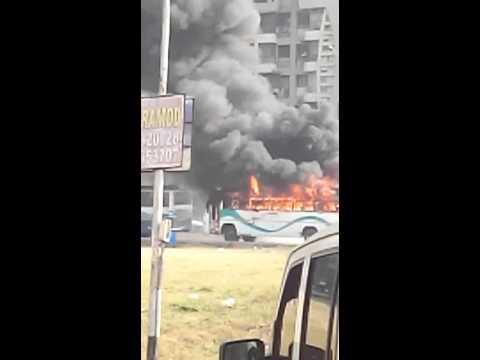 Xxx Mp4 Live A School Bus Burning At Adajan Of Surat City 3gp Sex
