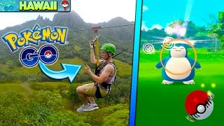 CATCHING POKEMON WHILE ZIP LINING THROUGH THE JURASSIC PARK MOUNTAINS! Pokemon Go Q&A #7