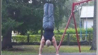 85 kg human flags, handstand pushups, L-sit muscle ups etc
