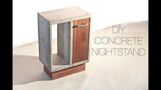 DIY Concrete and Walnut Nightstand