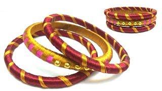 Latest silk thread bangle making at home I Easy and Simple bangles | Making silk thread bangles