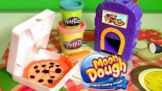 Pizzeria Moon Dough Pan Pizza Playset with Magical Oven Toy - Play Doh Kitchen Baking Toy