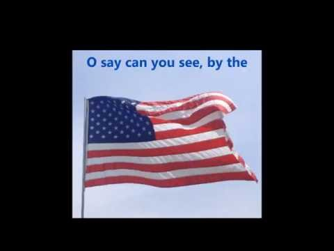 watch THE STAR SPANGLED BANNER USA American National Anthem words lyrics patriotic songs sing-along