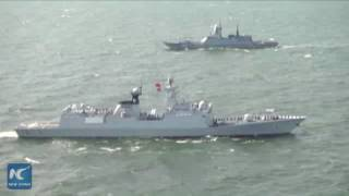 Aerial view of China-Russia joint naval drills on Baltic Sea