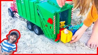 Garbage Truck Videos for Children | Bruder Mac Granite Truck Cleans up the Beach
