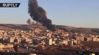 لحظة قصف القوات التركية لمواقع الأكراد في عفرين