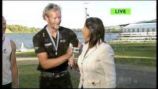 Reporter Sprayed with Champagne
