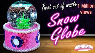 How to make snow globe from waste fuse bulb | best out of waste | Artkala 140