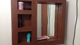 Tutorial: como hacer mueble de carton espejo organizador para baño o habitacion DIY