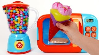 Ice Cream Squishy Toys for Children Play Doh Learn Colors Microwave