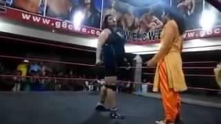 Punjabi Woman In Salwar Kameez Taking Down A Pro Wrestler full video   YouTube